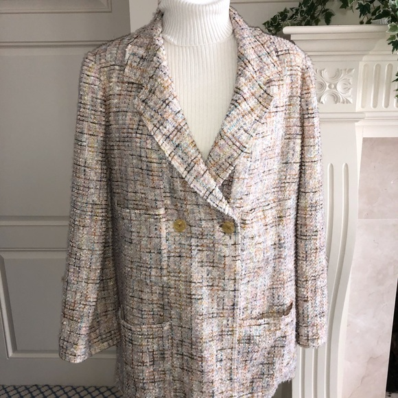 CHANEL Beige With Multicolored Boucle Tweed